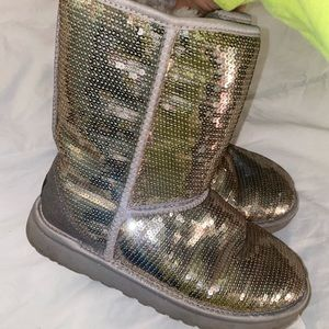 Silver sparkly sequin UGGs
